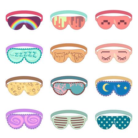 Dormir máscara conjunto de vectores. Máscara de la protección, la relajación para dormir, máscara accesorio para relajarse, máscara suave ilustración ojo Ilustración de vector