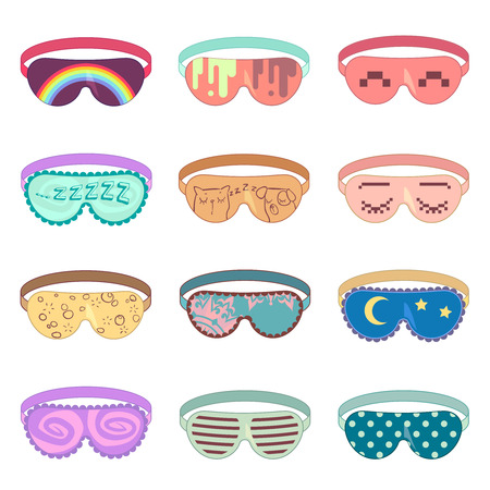 eye wear: Sleeping mask vector set. Protection mask, relaxation sleeping, accessory mask for relax, soft mask eye illustration