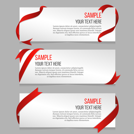 Horizontal banners vector set with red ribbons. Banner sample, banner template, decoration ribbon wave illustration