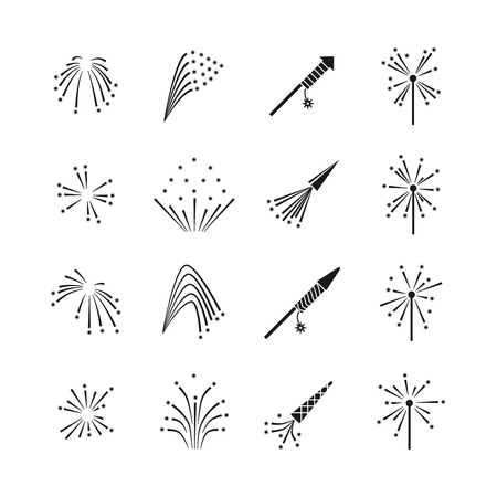 Firework explosion effects vector set. Firework celebration, burst firework, flash explosion firework illustration Illustration