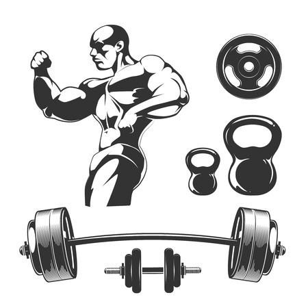 hand with dumbbell: Vector elements for vintage fitness and gym labels. Sport fitness gym, bodybuilding and dumbbell element, barbell for label illustration
