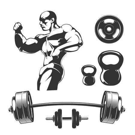 Vector elements for vintage fitness and gym labels. Sport fitness gym, bodybuilding and dumbbell element, barbell for label illustration