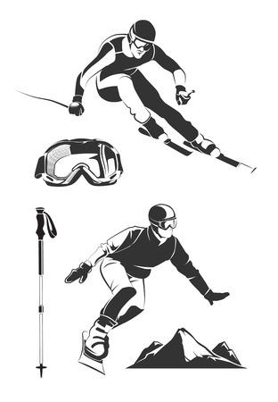 Vector elements for vintage ski and snowboard labels and emblems. Ski sport, ski label badge, emblem snowboard,  extreme ski and snowboard illustration Illustration