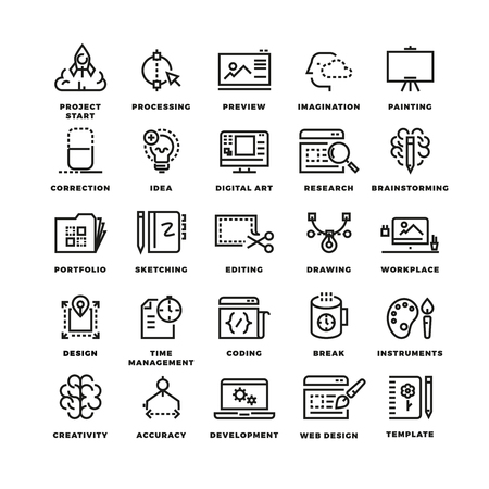 set design: Vector creative process line icons. Business icon creative, process project start, creative imagination, painting icon creative illustration