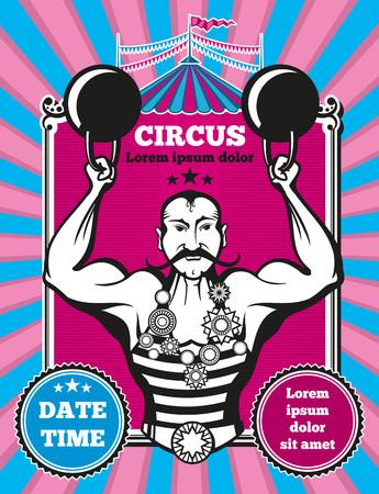 Retro vintage vector circus poster. Poster vintage circus, design banner circus show, event circus performance illustration Illustration