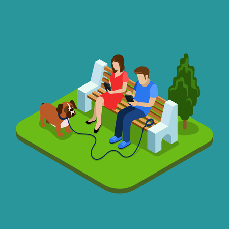 addiction: Social media addiction. Young couple in park with smartphones. 3d isometric people concept. Man and woman addiction social media, network social illustration