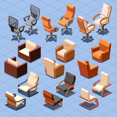 armchair: Chair and armchair isometric vector set. Chair interior armchair furniture, isometric chair, seat armchair business or home illustration Illustration