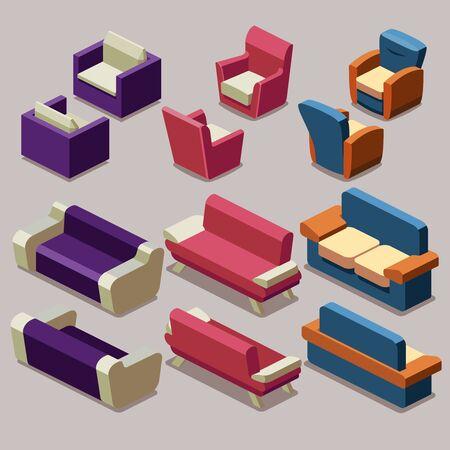 Living room isometric furniture vector set. Sofa and armchairs. Sofa interior, armchair furniture, isometric sofa and armchair illustration Illustration