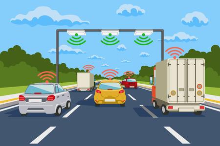 transporte: comunicação rodovia vetor sistema de infográficos. comunicação rodoviária, ilustração comunicação sistema de rodovias Ilustração