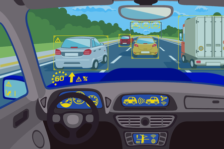 window display: Head-up system technology in car. Technology system control, future technology dashboard, digital head-up computer. Vector illustration