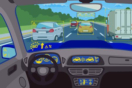 La technologie du système Head-up dans la voiture. contrôle du système de la technologie, le futur tableau de bord de la technologie, l'ordinateur de la tête-up numérique. Vector illustration