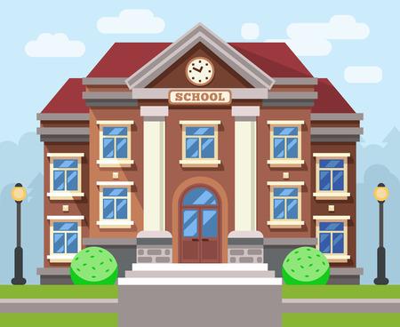School or university building. Vector flat education concept. Education school, building school, study school or college illustration Illustration
