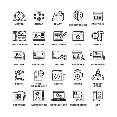 3d art: Web and mobile apps development line vector icons. 3d art icon, brainstorming development design ui, web soft app,  digital app mobile illustration