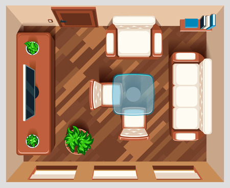 living room furniture: Living room with furniture top view. Interior room for living, house room, view top room, table and armchair furniture illustration
