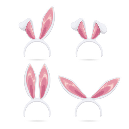 lapin blanc: masques de Pâques fixés. Vector oreilles de lapin masques collection pour Pâques. Des oreilles de lapin