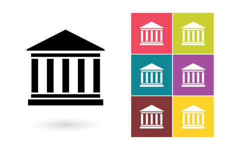 Bank vector icon or bank symbol. Bank icon or bank pictogram for logo with bank or label with bank