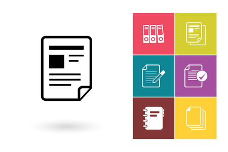 documents: Document vector icon or file symbol. Document icon or file pictogram for logo with document or label with document Illustration