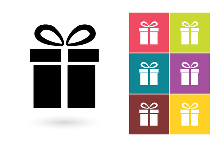 Gift vector icon or gift symbol. Gift icon or gift pictogram for logo with gift or label with gift Logo
