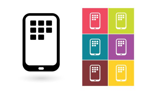 phone symbol: Smartphone vector icon or mobile symbol. Mobile icon or smartphone pictogram for logo with mobile phone or label with smartphone