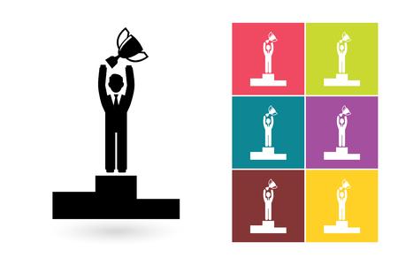 black business men: Success vector icon or win symbol. Businessman success icon or success pictogram for logo with success businessman or success label
