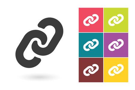 Link vector icon or link symbol. Chain pictogram for logo with link symbol or label with chain icon Vectores