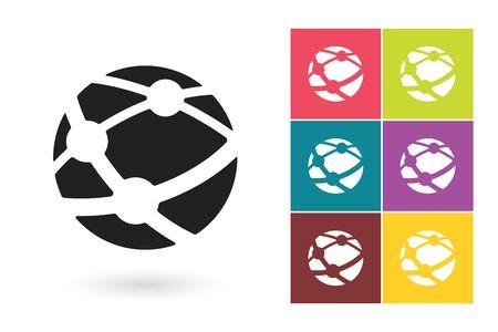 network logo: Network vector icon or social network symbol. Social network icon or globe pictogram for social network logo or label with network globe Illustration