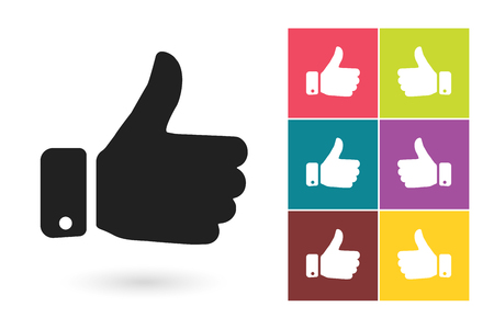 Thumb up vector icon or thumb up symbol. Thumb up pictogram for logo with thumb up or label with thumb up