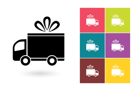 Delivery vector icon or delivery symbol. Free delivery icon or fast delivery pictogram for logo with delivery or label with delivery