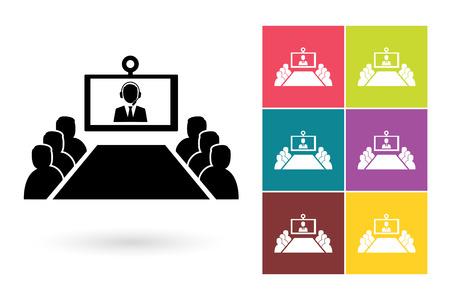 会議ベクトル アイコンまたはビデオ会議のシンボル。オンライン会議のアイコンまたはビジネス会議のロゴまたはビデオ会議とラベルのオンライン会議ピクト