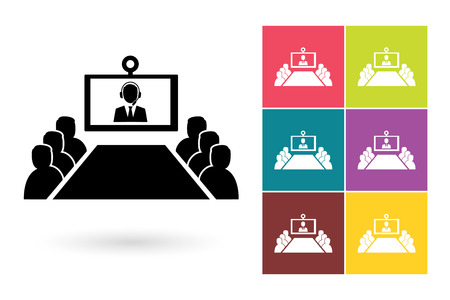 Conference vector icon or video conference symbol. Online meeting icon or online conference pictogram for business meeting logo or label with video conference 일러스트