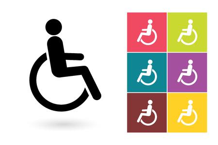 discapacitados: icono del vector de discapacitados o minusválidos símbolo. icono de discapacitados o minusválidos pictograma logotipo con minusválidos o etiqueta con minusválidos Vectores