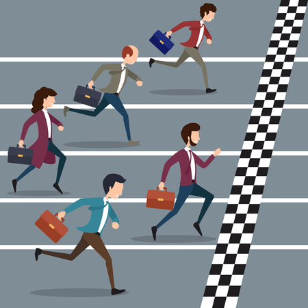 work team: Business people winning marathon. Business sport, success marathon competition, business goal, vector illustration