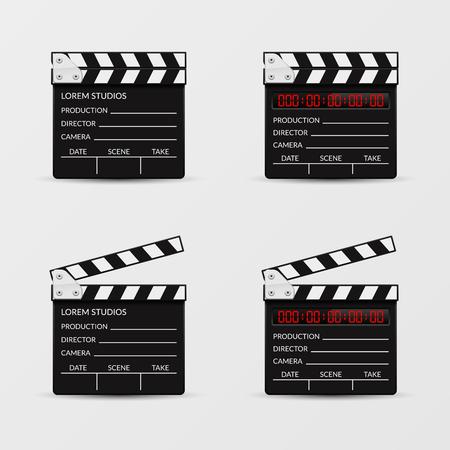 cinematography: Movie clapperboard vector set. Clapperboard film, video clapboard, clapper board, movie cinematography illustration