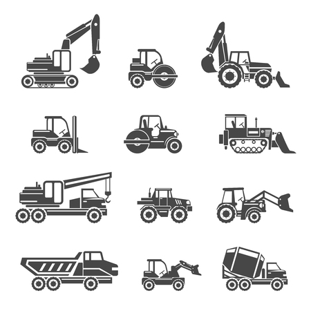 Bouwvoertuigen pictogrammen. Voertuig auto, machine bulldozer bouw, industrie voertuig tractor, graafmachine en kipper, vector illustratie Stock Illustratie