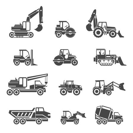 véhicules de construction icônes. voiture de véhicule, construction machine bulldozer, tracteur de véhicule industriel, pelle et benne, illustration vectorielle