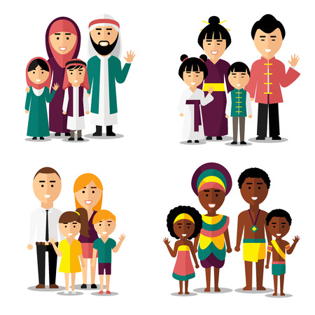 muslim: African, asian, arab and european families. Family asian, family african, family european, family asian. Vector illustration characters icons set
