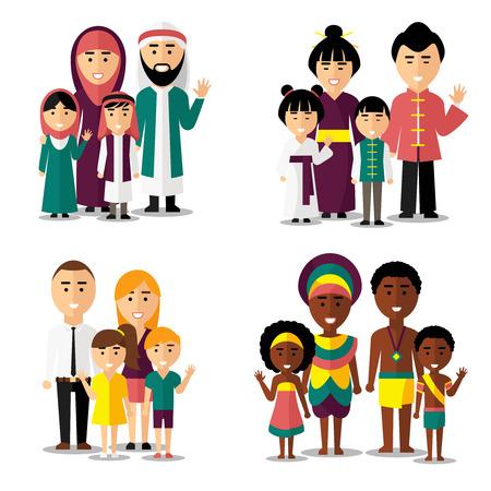 familj: Afrika, Asien, arabiska och europeiska familjer. Familj asiatisk, familj afrikan, familj Europeiskt, Familje asiatisk. Vektor illustration tecken ikoner som