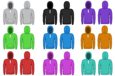 hoodie: Raglan hoodie vector template. Cloth raglan, sweatshirt hoodie, wear garment illustration