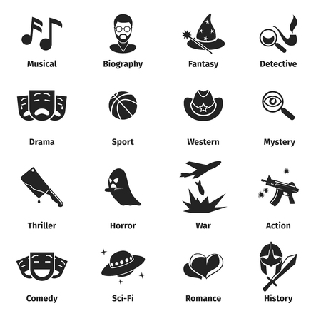 black: Movie genres vector icons. Movie film genres, comedy genre, war and romance genres, history drama film genre illustration