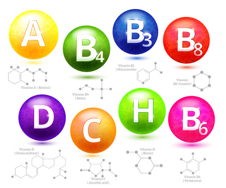 Vitamins chemical structures. Molecule vitamin, molecular chemical vitamin, structure chemistry vitamin, vector illustration Illusztráció