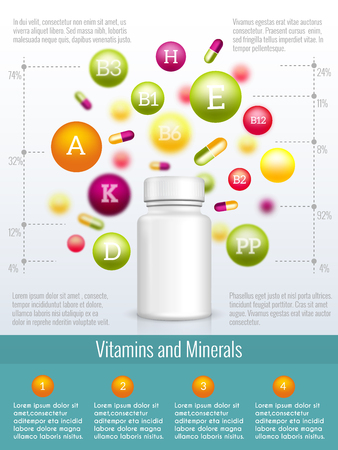 supplements: Vitamins and supplements infographics. Vitamin supplement, health infographic, medical vitamin illustration Illustration
