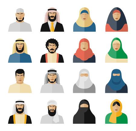 female girl: Arab people icons. Muslim people, arabian people, islam people woman and man. Vector illustration set Illustration