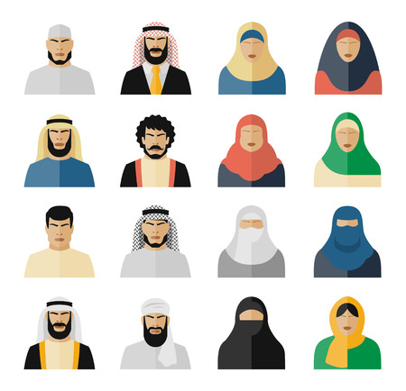muslim girl: Arab people icons. Muslim people, arabian people, islam people woman and man. Vector illustration set Illustration