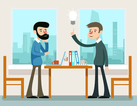 discussion: Business idea. Businessmen discussing strategy standing at office desk. Idea discussing or businessman discussion strategy, teamwork meeting concept Illustration