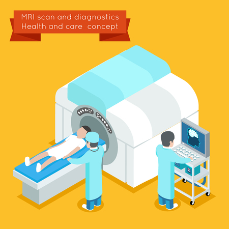 medical scanner: MRI process. 3d isometric MRI health care vector concept. MRI medical and MRI technology mri or MRI  scanner illustration