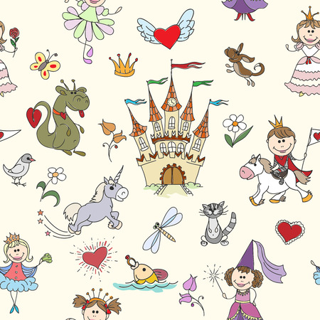 fairy tale princess: Little princess seamless pattern. Princess girl, background kid, princess crown, fairy tale princess. Vector illustration