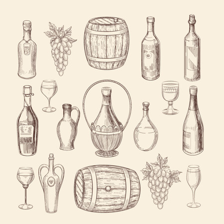 old style: Hand drawn vineyard sketch and doodle wine vector elements. Vineyard doodle and grape hand drawn, wine alcohol illustration