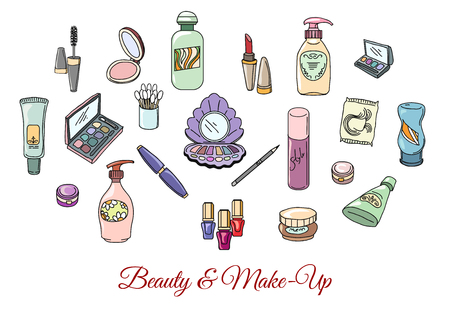 Hand drawn cosmetics and make up. Fashion makeup, cosmetic eyeshadow lipstick and mascara, vector illustration