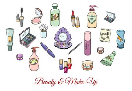 eyeshadow: Hand drawn cosmetics and make up. Fashion makeup, cosmetic eyeshadow lipstick and mascara, vector illustration Illustration