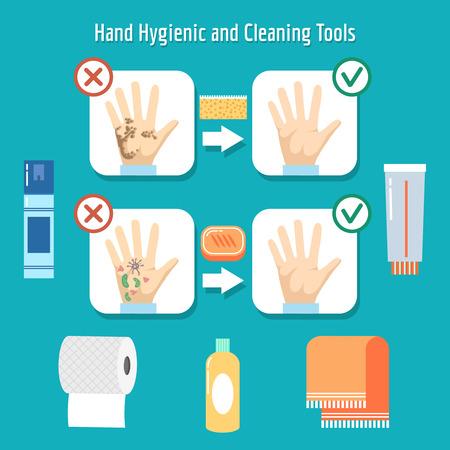 higiene: artículos de higiene personal. La higiene de manos, lavado de higiene personal, mano sucia. ilustración vectorial